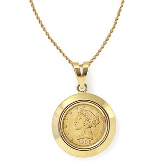 American Coin Treasures 14k Gold $5 Liberty Gold Piece Half Eagle Coin Dome Bezel Pendant Necklace
