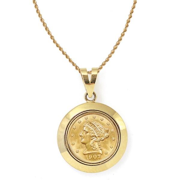 American Coin Treasures 14k Gold $2.50 Liberty Gold Piece Quarter Eagle Coin Dome Bezel Pendant Neck