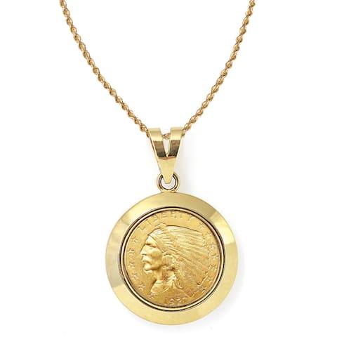 America Coin Treasures 14k Gold $2.50 Indian Head Gold Piece Quarter Eagle Coin Dome Bezel Pendant N