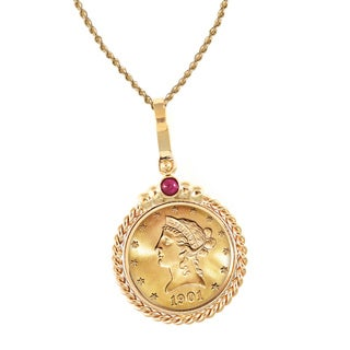 American Coin Treasures 14k Gold Ruby $10 Liberty Gold Piece Eagle Coin Twisted Rope Bezel Pendant