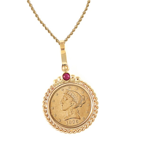 American Coin Treasures 14k Gold Ruby $5 Liberty Gold Piece Half Eagle Coin Twisted Rope Bezel Penda
