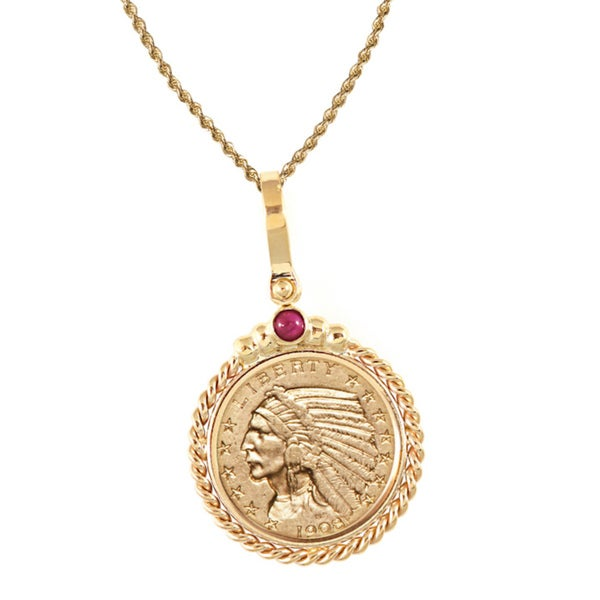 American Coin Treasures 14k Gold Ruby $5 Indian Head Gold Piece Half Eagle Coin Twisted Rope Bezel P