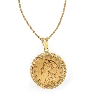American Coin Treasures 14k Gold $20 Liberty Gold Piece Double Eagle Coin Rope Bezel Pendant Necklac