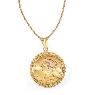 American Coin Treasures 14k Gold $10 Liberty Gold Piece Eagle Coin Rope Bezel Pendant Necklace