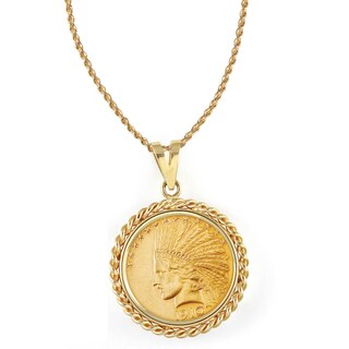 American Coin Treasures 14k Gold $10 Indian Head Gold Piece Eagle Coin Rope Bezel Pendant Necklace