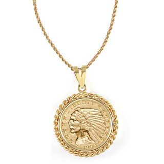 American Coin Treasures 14k Gold $5 Indian Head Gold Piece Half Eagle Coin Rope Bezel Pendant Neckla