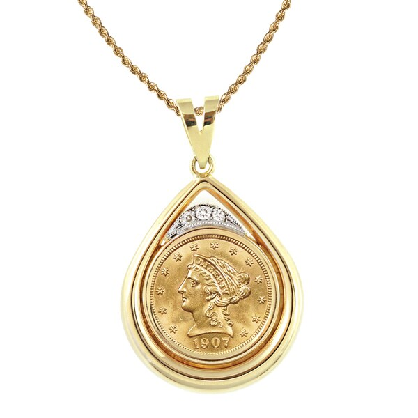 American Coin Treasures 14k Gold 1/8ct TDW Diamond and $2.50 Liberty Gold Piece Necklace (H-I, SI1-S