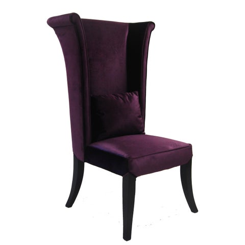 Armen Living Mad Hatter Purple Velvet High-back Chair