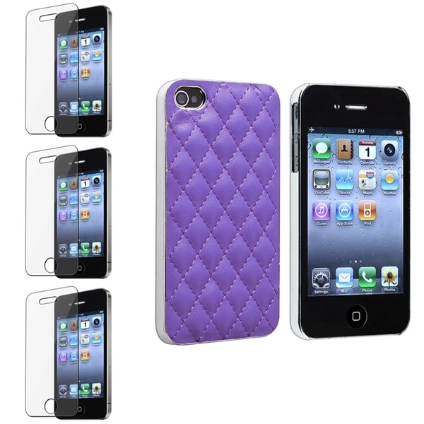 BasAcc Purple/ Silver Case/ Screen Protectors for Apple iPhone 4/ 4S
