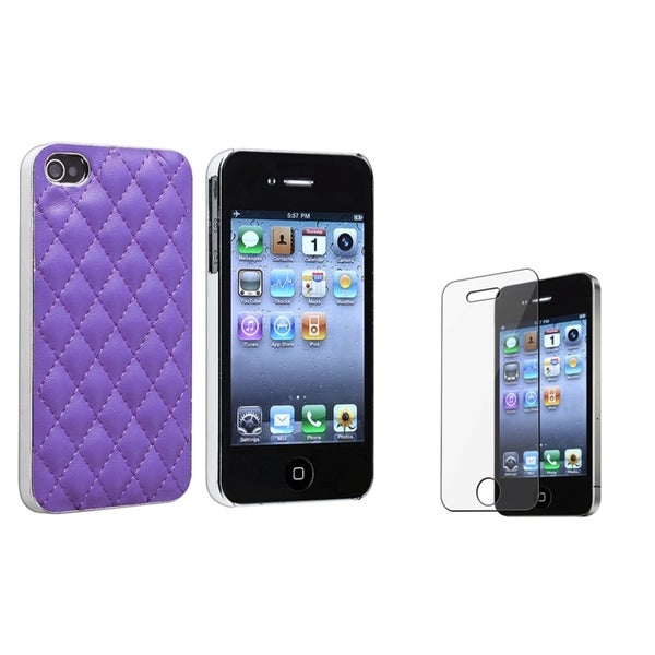 BasAcc Purple/ Silver Case/ Screen Protector for Apple iPhone 4/ 4S
