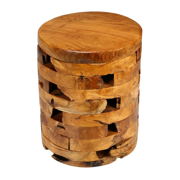 Bare Decor Stonehenge Solid Teak Wood Stump End Table