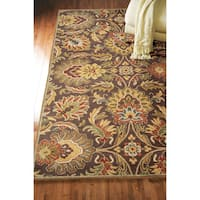 Hand-tufted Sausalito Chocolate Brown Floral Wool Area Rug - 2' x 3'