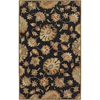 Hand-tufted Savoy Black Wool Area Rug - 2' x 3'
