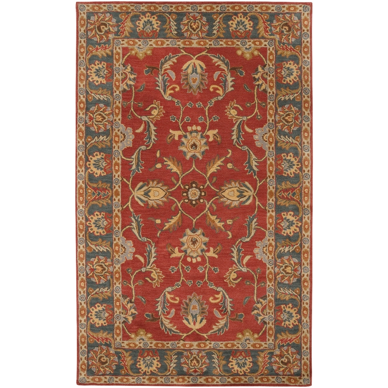 Hand-tufted Scotland Rust Traditional Border Wool Rug (2' x 3')