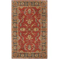 Hand-tufted Scotland Rust Traditional Border Wool Area Rug - 2' x 3'