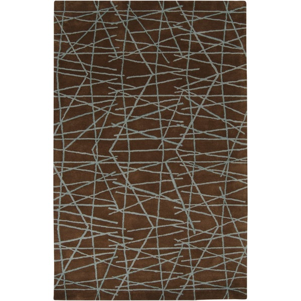 Hand-tufted Seatak Brown Wool Geometric Lines Rug (2' x 3')