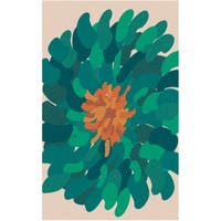 Hand-tufted Seattle Green Wool Bold Floral Area Rug - 2' X 3'