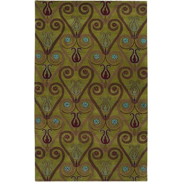 Hand-tufted Sebastian Green Wool Rug (2' x 3')