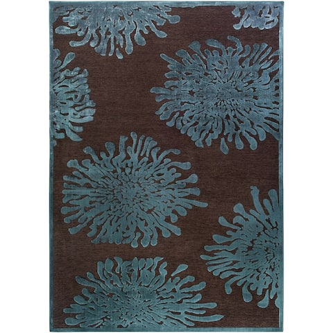 "Serpentine Blue Floral Area Rug - 2'2"" x 3'"