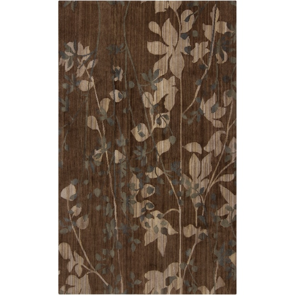 Hand-knotted Sinton Brown Wool Rug (2' x 3')
