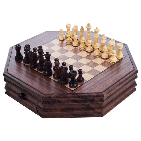 Trademark Games 13-inch Octagonal Chess and Checkers Set