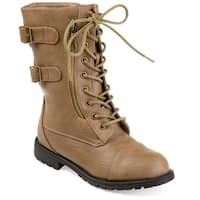 Hailey Jeans Co. Women's 'Cedes' Lace-Up Buckle Mid-Calf Combat Boot