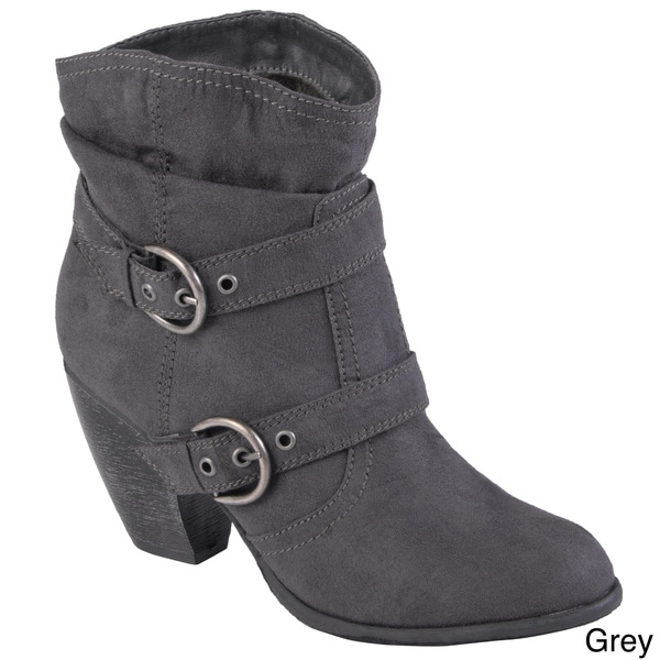 Hailey Jeans Co. Women's 'Jenny' Sueded Buckle Detail Ankle Boots