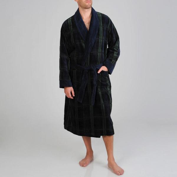 Izod Men's Blackwatch Navy/Green Terry Velour Robe
