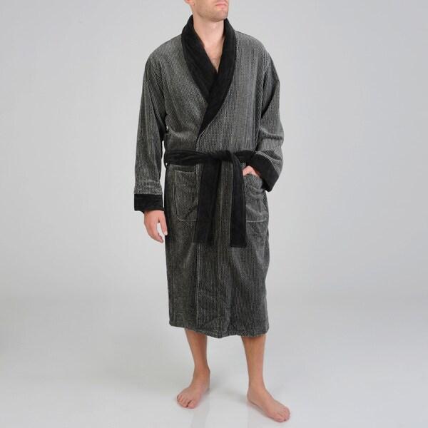 Izod Men's Black Houndstooth Terry Velour Robe