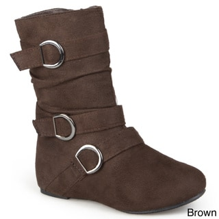 Journee Collection Kid's 'Sarena' Buckle Accent Suede Boots