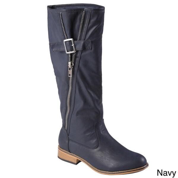 Hailey Jeans Co. Women's 'Karen' Knee-High Buckle-Strap Zipper Detail Riding Boot
