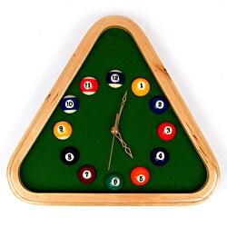 Pool Rack Quartz Clock with Solid Wood Frame