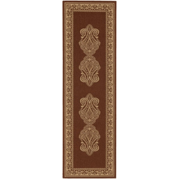 Weslaco Beige Border Indoor/Outdoor Rug (2'3 x 11'9)