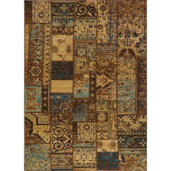 "Vintage Silas Patchwork Light Blue/Brown New Zealand Wool Rug (9'10"" x 12'6"")"