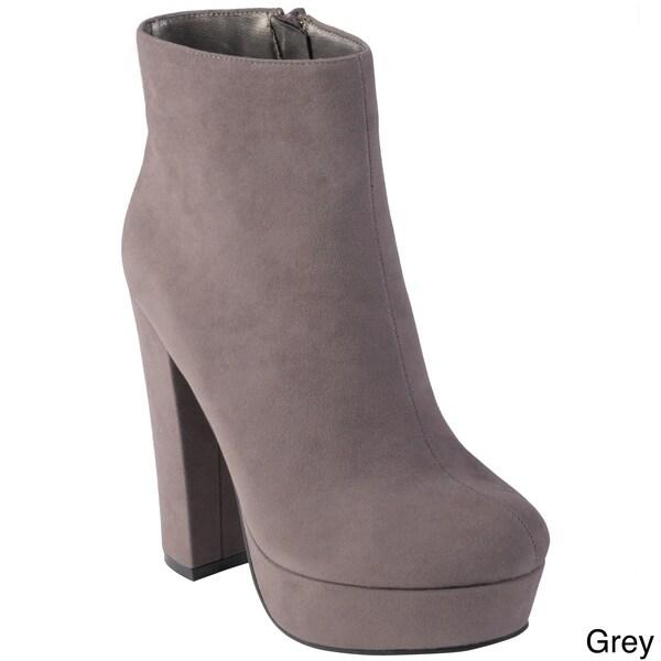 Hailey Jeans Co. Women's 'Tasha' Round Toe Sueded High Heel Bootie