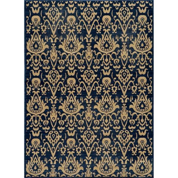 Vintage Ikat Chic Navy New Zealand Wool Rug (9'10 x 12'6)
