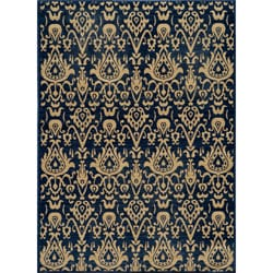 Vintage Ikat Chic Navy New Zealand Wool Rug (9'10 x 12'6)