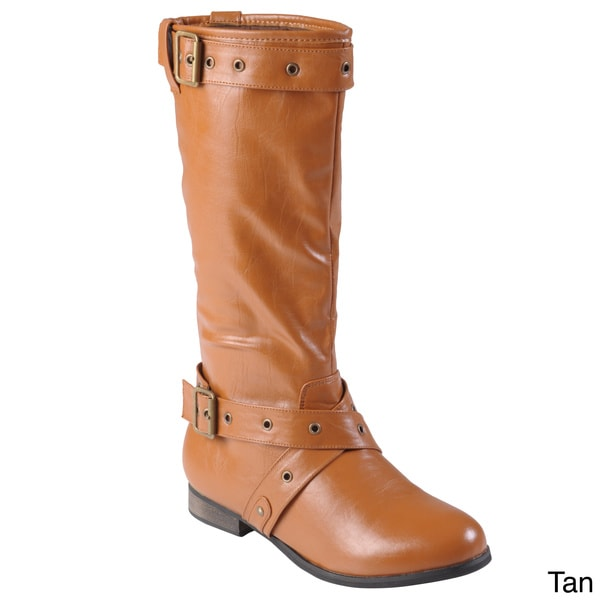 Tressa Collection Women's 'Whitney' Buckle Detail Round Toe Boots