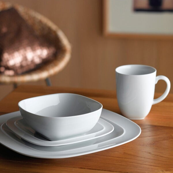 Denby White Square Porcelain 16-piece Dinnerware Set