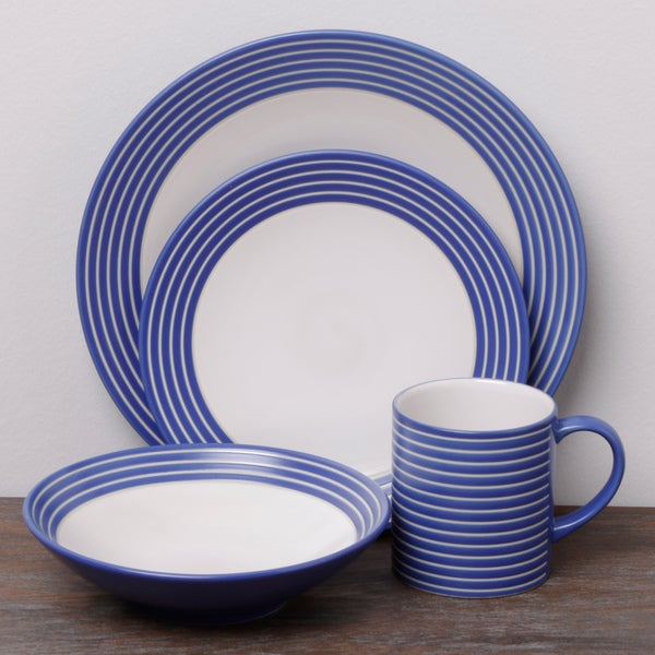 Denby Intro Stripes Blue 16-piece Dinnerware Set