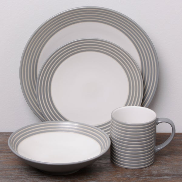 Denby Intro Stripe Grey 16-piece Dinnerware Set