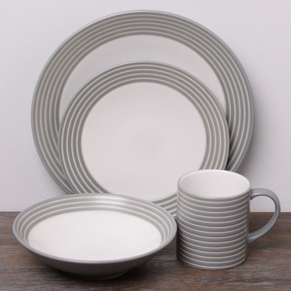 denby intro stripe grey 16-piece dinnerware set - free shipping today - overstock com