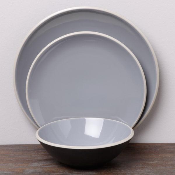 Denby Grey/ Black 12-piece Dinnerware Set