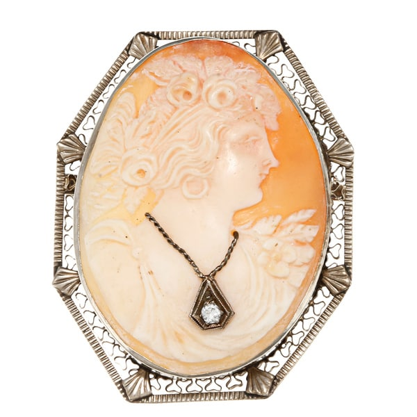 14k White Gold Cameo and 1/10ct TDW Diamond Estate Brooch (J-K, SI1-SI2)