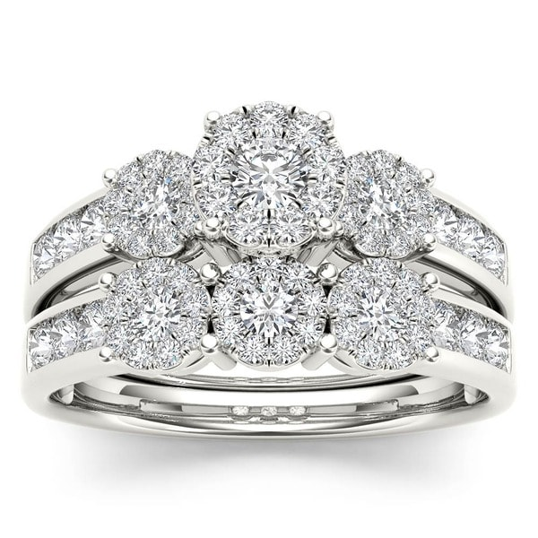 De Couer 10k Gold 1ct TDW Diamond Bridal Ring Set