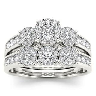 De Couer 10k Gold 1ct TDW Diamond Bridal Ring Set