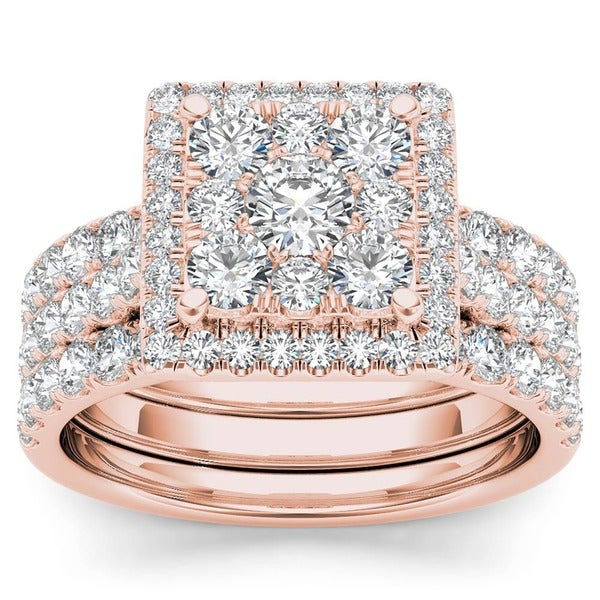 De Couer 10k Gold 2ct TDW Diamond Halo Bridal Ring Set