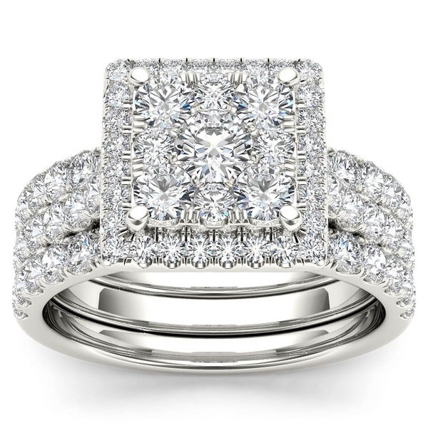 de couer 10k gold 2ct tdw diamond halo bridal ring set - Halo Wedding Ring Set