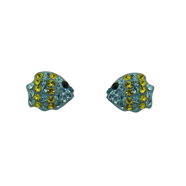 Gioelli Sterling Silver and Enamel Turquoise and Yellow Crystal Fish Earrings