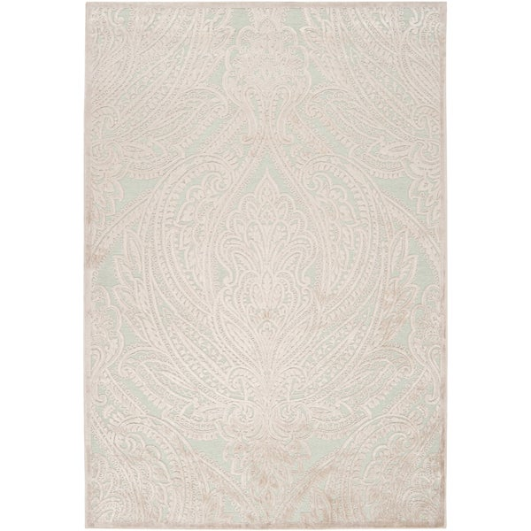 Woven Chaph Ice Blue Viscose/ Chenille Rug (5'1 x 7'6)